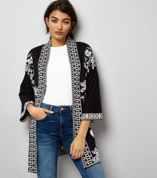 black-floral-knitted-kimono- NL £27.99