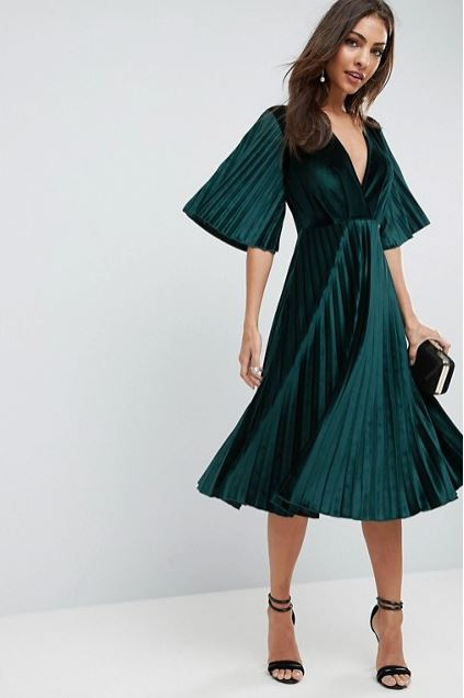 Asos Midi Pleated Velvet Kimono Dress £45