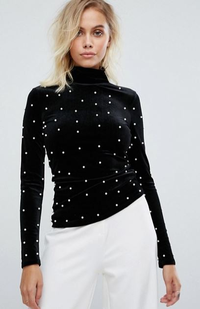 Fashion Union @ Asos High Neck top with pearls £26