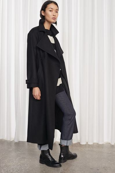 French Connection Platform Felt Cinched waist coat black £230