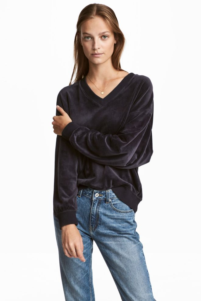 H&M Velour Sweatshirt £19.99 dark blue