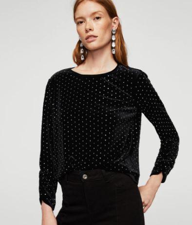 Mango Velvet & Rhinestone blouse £49.99