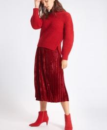 M&S Velvet A-line Midi £35 red