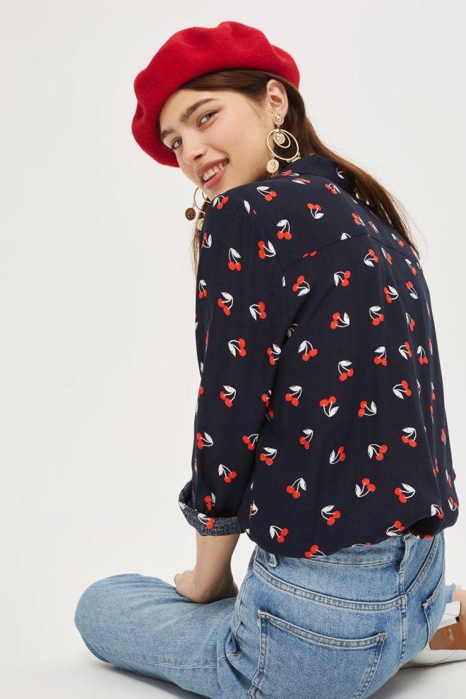Topshop cherry print shirt £32