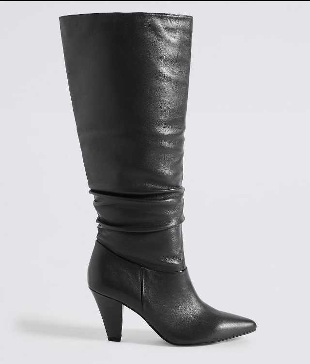 M&S knee high leather boots now £59