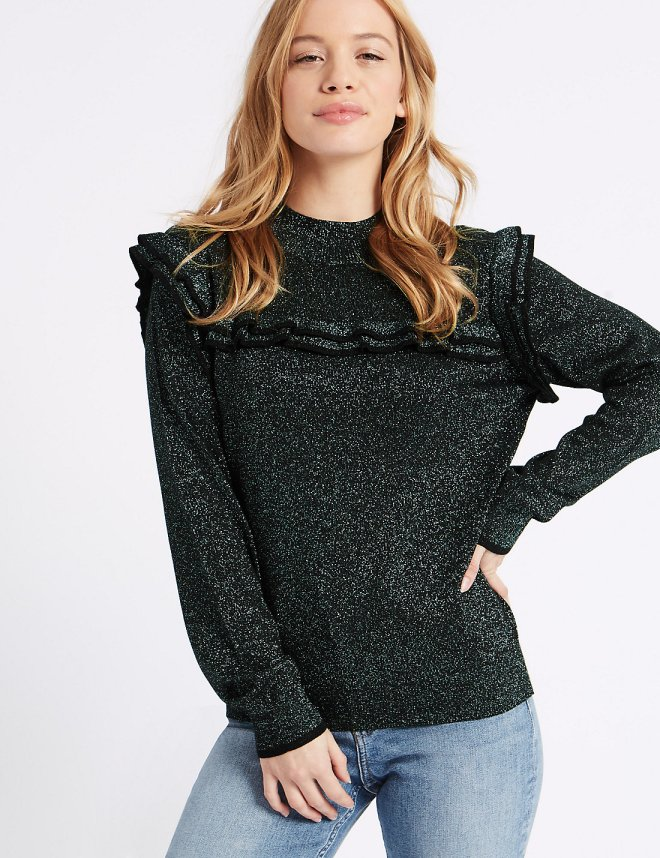 M&S Ruffle Yoke sweater £29.50