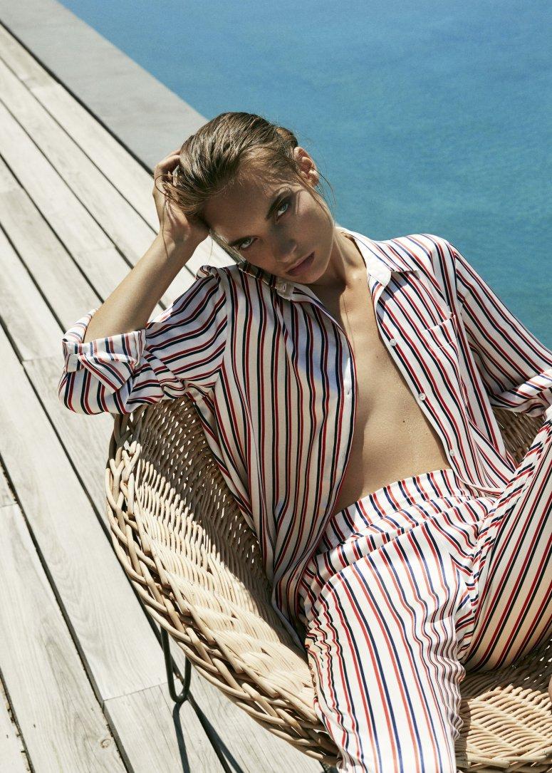 Asceno twin stripe sandwashed silk PJ top £165