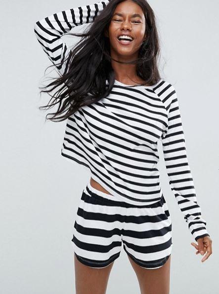 Asos B&W stripe long sleeve top & short set £20