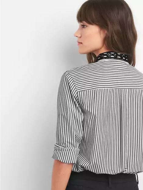 Gap Embellished-collar stripe boyfriend shirt £26.99, was £44.95