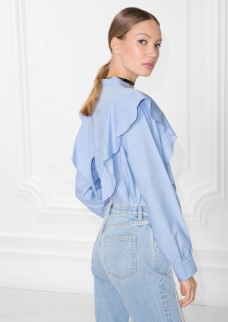 & Other Stories, Blue frilled shirt, £25, was £49