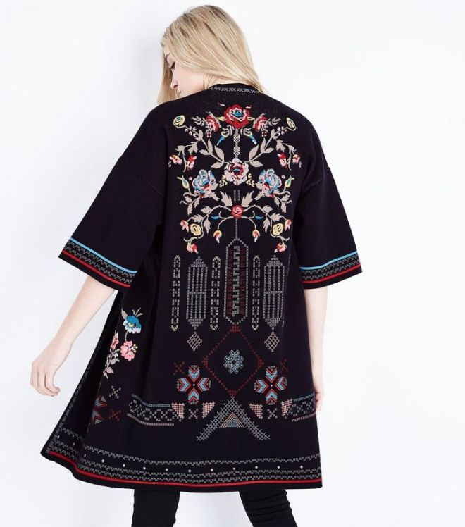 New Look Black floral Cross Stitch kimono cardigan £39.99