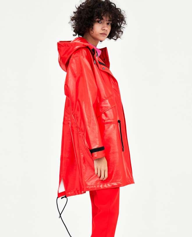 Zara faux patent rain coat £69.99