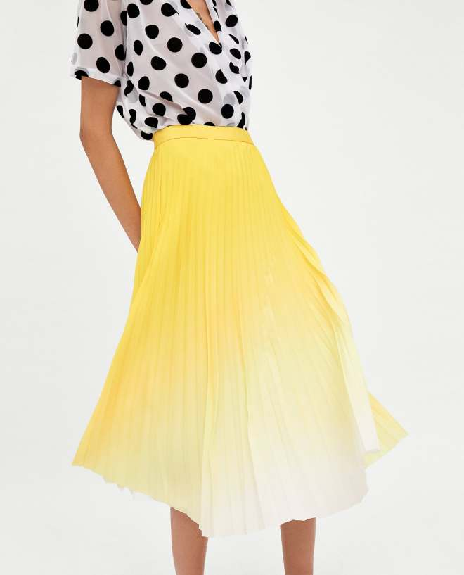 Zara yellow ombre pleated skirt £29.99