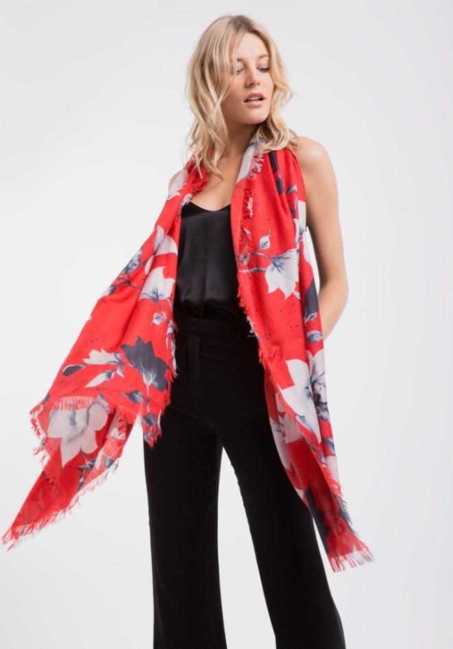 Lily & Lionel red magnolia silk scarf £150