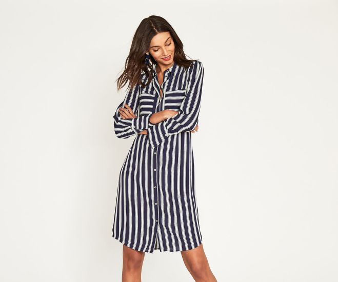 Oasis Long stripe shirt dress £46