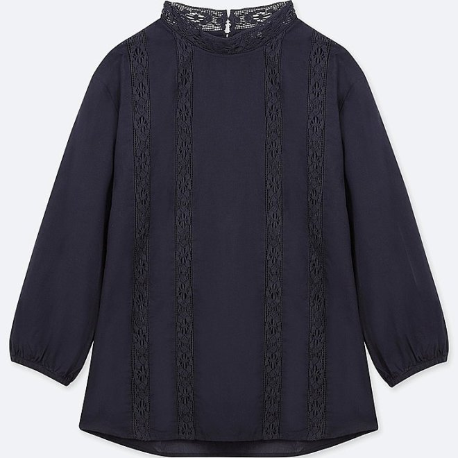 Soft cotton long sleeve blouse navy £12.90, was £24.90