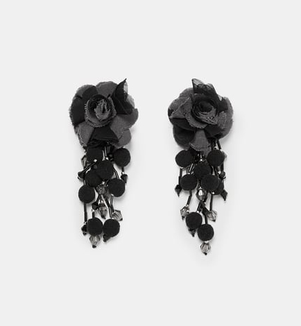 Zara earring with fabric flowers £15.99