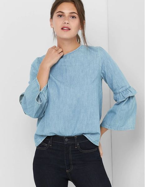 Gap denim ruffle sleeve top £14.99, was £49.95