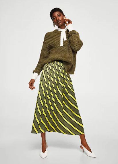 Mango Striped pleated skirt £49.99