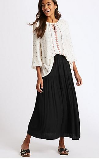M&S crinkle maxi skirt £25