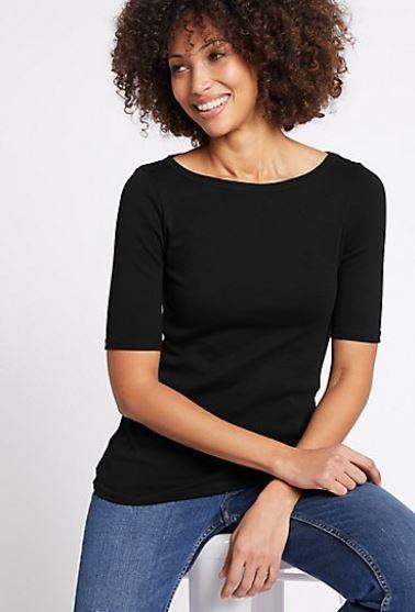 M&S Pure cotton slash neck half sleeve t-shirt £6.50
