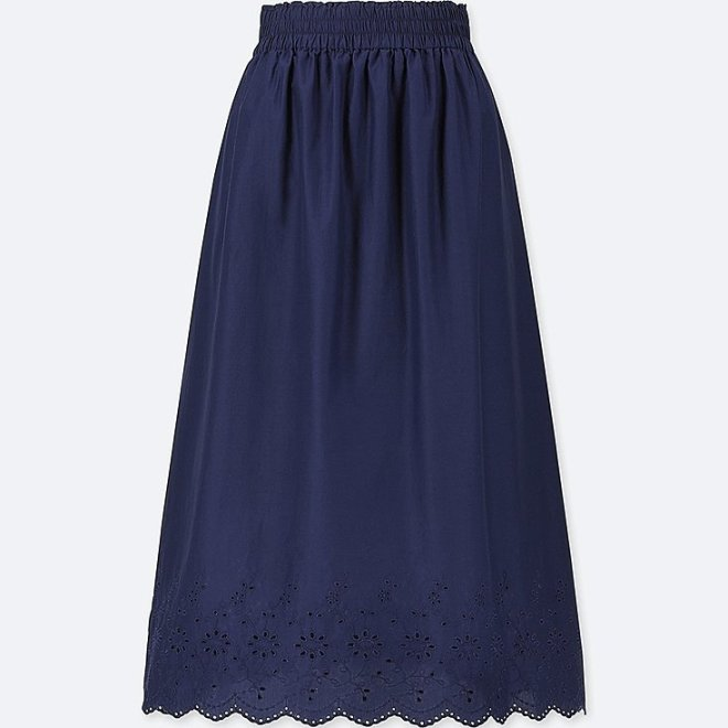 Uniqlo high waist cotton lawn eyelet long skirt £24,90