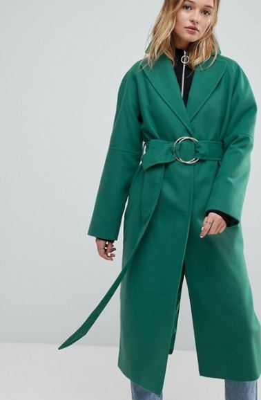Asos Green D-ring Belted long coat £30, was £75