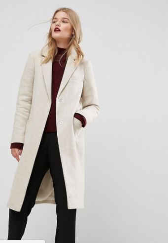 Asos Slim coat in Wool, £45, was £75