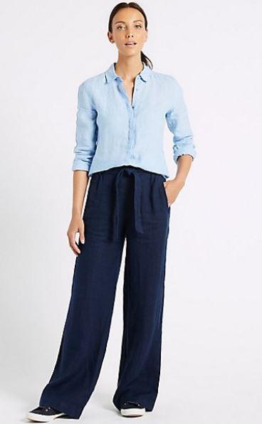 M&S Pure Linen wide leg trousers £25