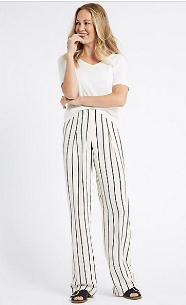 M&S Striped wide leg trouser £35