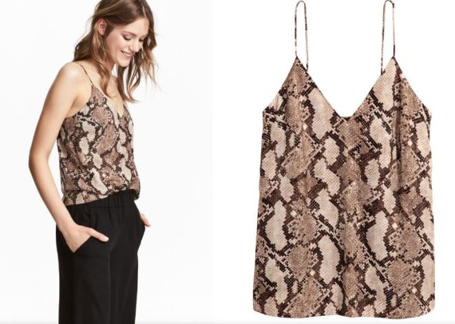 H&M snake print cami top £9, was £12.99