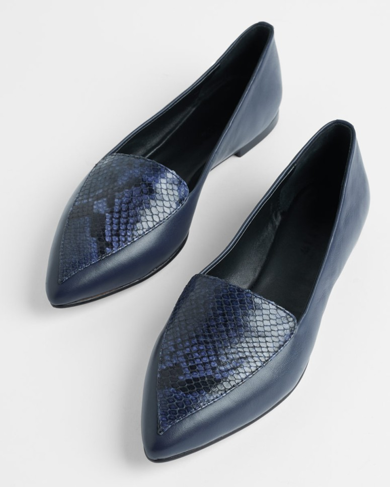 Jigsaw Calli Snake embossed flat shoe £98