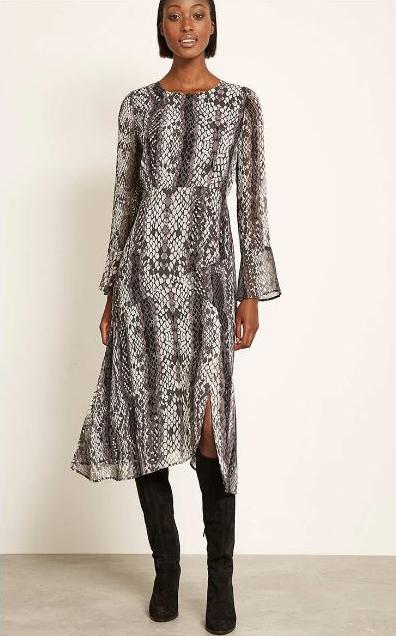 Mint Velvet Lucy Print Fluted midi dress £129