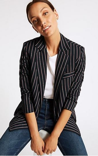 M&S Collection striped doubled breasted blazer £79