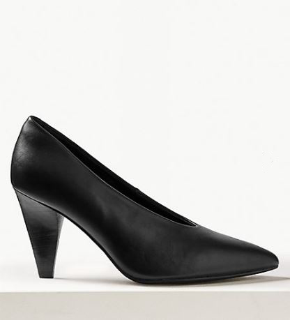 M&S Leather High Cut Point Court Shoes £49.50