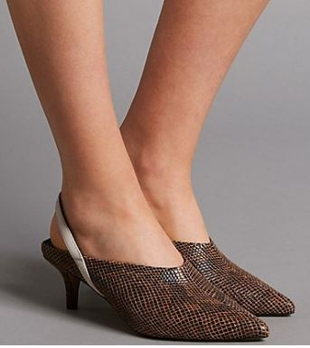 M&S leather kitten heel sling back court shoe £45