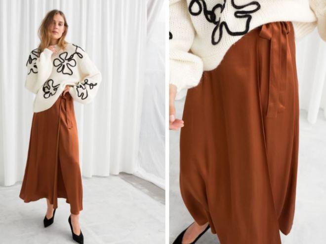 & Other Stories Satin Wrap Maxi Skirt £59