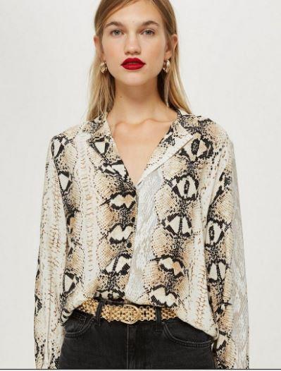 Topshop Snake Print long sleeve blouse £35