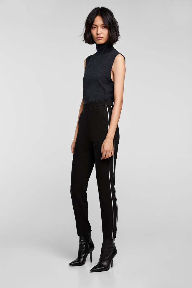 Zara skinny piped trousers £25.99