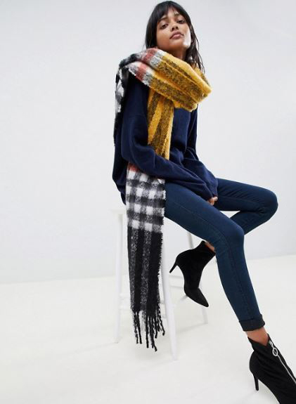 ASOS DESIGN oversized fluffy blown up check mustard scarf £18