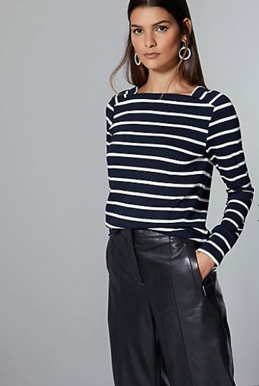 Autograph Striped Square Neck Long Sleeve top £29.50