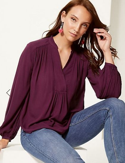 Crinkle Notch Neck Long Sleeve Blouse £22.50