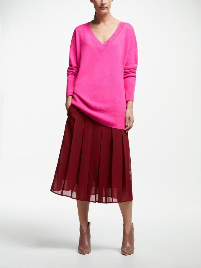 John Lewis & Partners Felt Cashmere Relaxed V-Neck Sweater, Raspberry £99