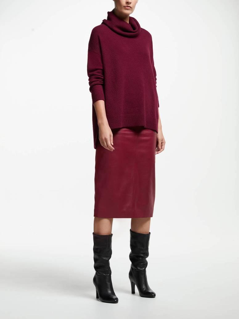 John Lewis & Partners Felt Look Cowl Neck Sweater Burgandy £65
