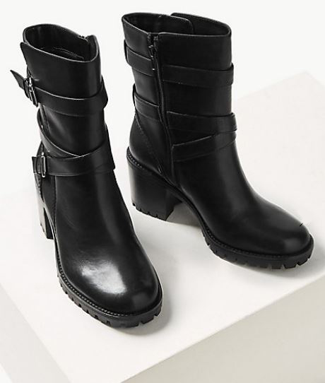 Leather Block Heel Double Strap Ankle Boots £85 copy