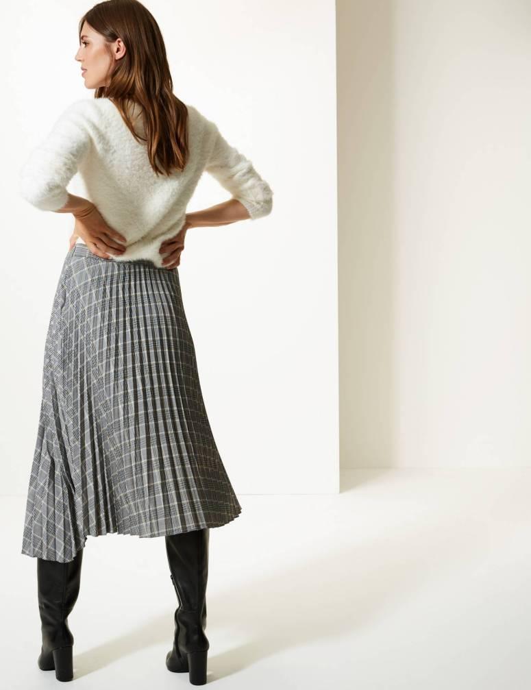 M&S Checked Asymmetric pleated midi skirt £39.50