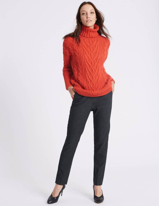 M&S Checked Every wear slim leg ankle grazer trouser £29.50