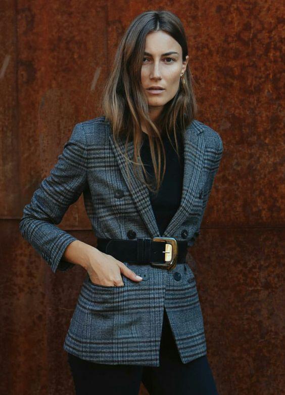 blazer with wide belt to cinch in waist,