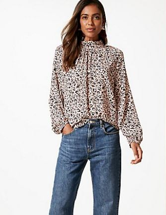 Printed Funnel Neck Long Sleeve Blouse £29.50
