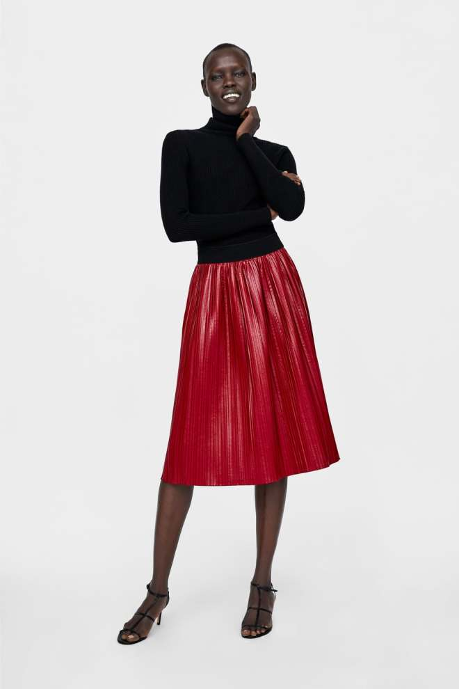 Zara Waxed-Effect Pleated Skirt £29.99